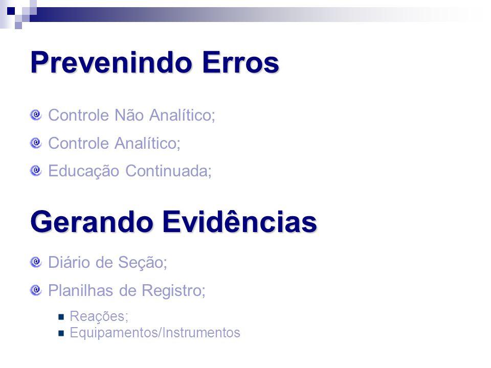 Prevenindo Erros Gerando Evidências Controle Não Analítico;