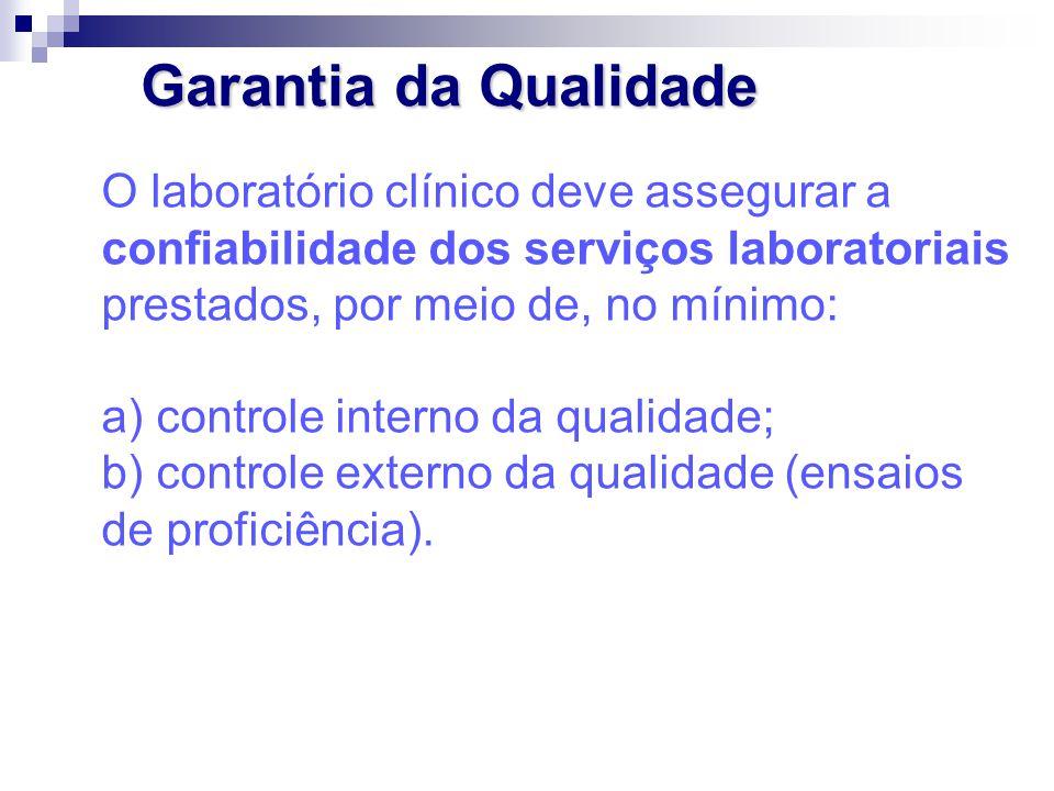 Garantia da Qualidade O laboratório clínico deve assegurar a