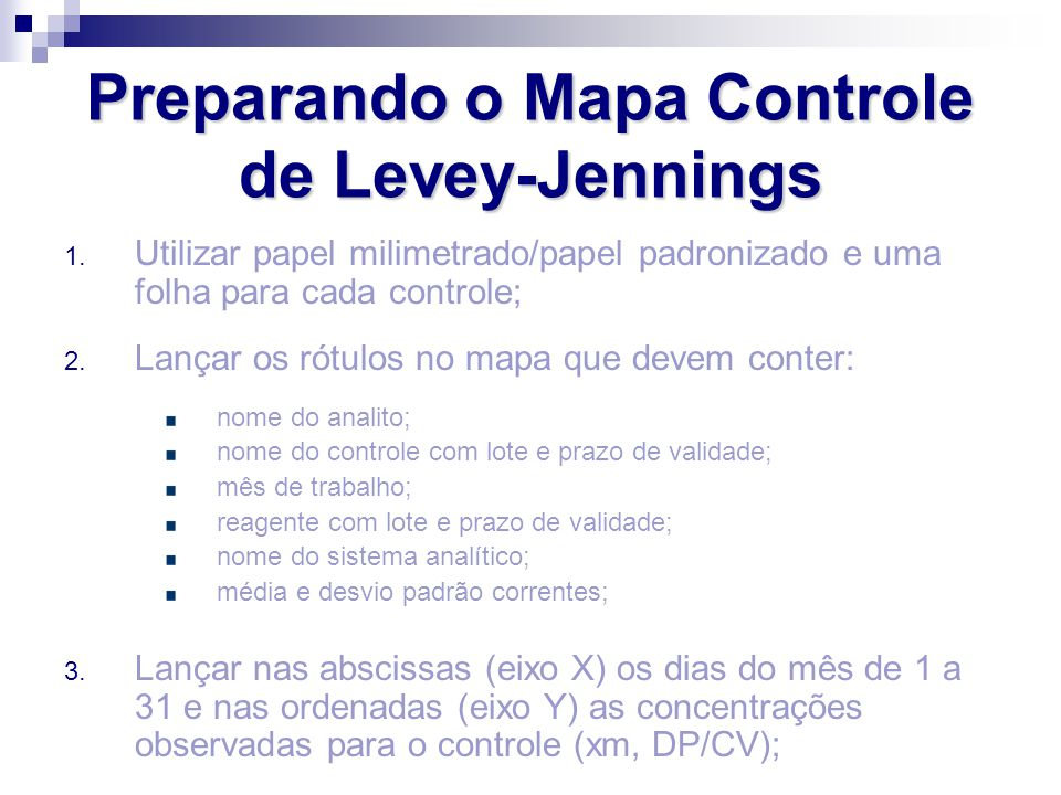 Preparando o Mapa Controle de Levey-Jennings