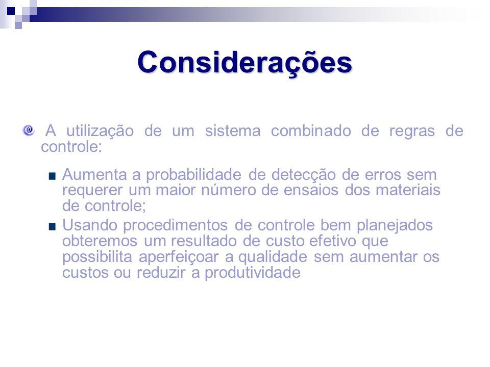 Considerações A utilização de um sistema combinado de regras de controle: