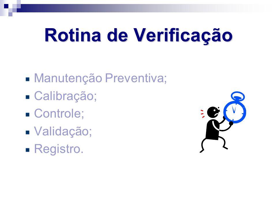 Rotina de Verificação Manutenção Preventiva; Calibração; Controle;