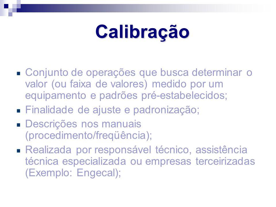 Calibração Conjunto de operações que busca determinar o valor (ou faixa de valores) medido por um equipamento e padrões pré-estabelecidos;
