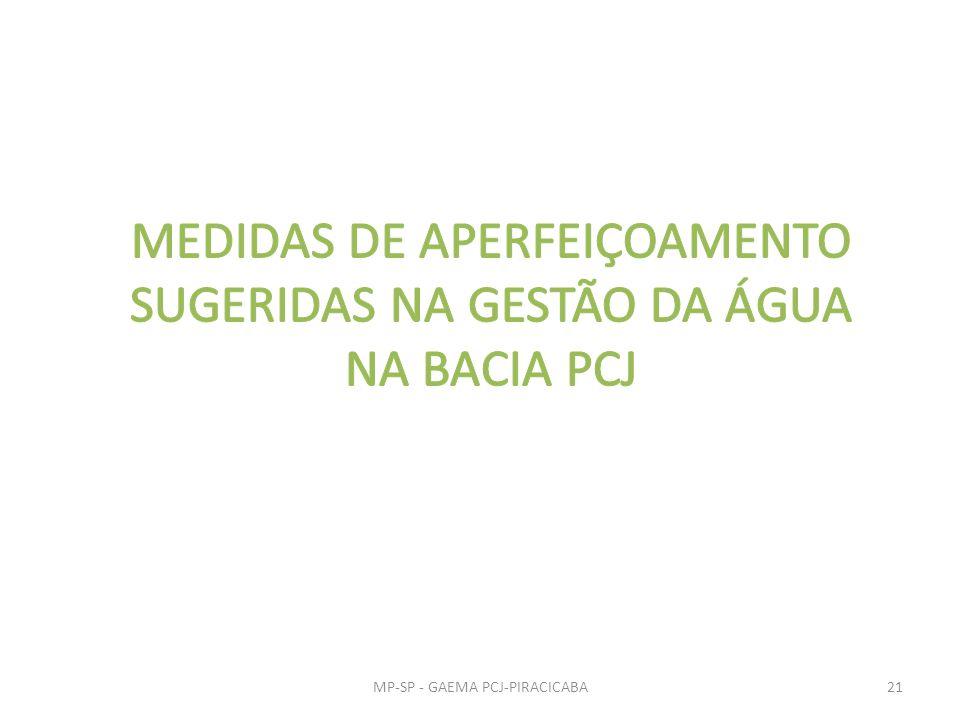 MEDIDAS DE APERFEIÇOAMENTO SUGERIDAS NA GESTÃO DA ÁGUA NA BACIA PCJ