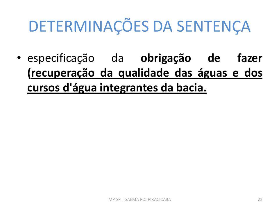 DETERMINAÇÕES DA SENTENÇA