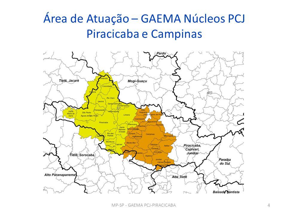 Área de Atuação – GAEMA Núcleos PCJ Piracicaba e Campinas