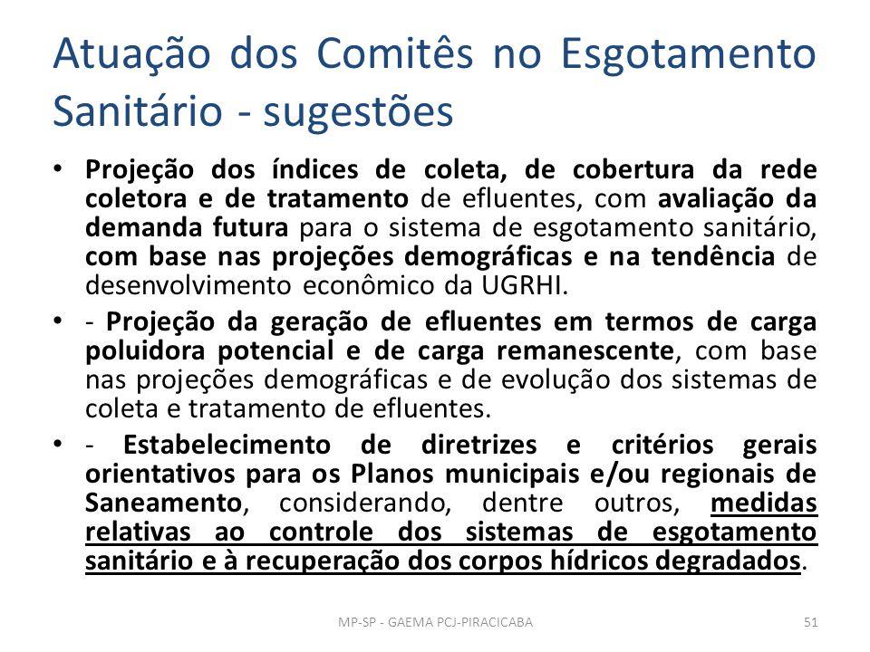 Atuação dos Comitês no Esgotamento Sanitário - sugestões
