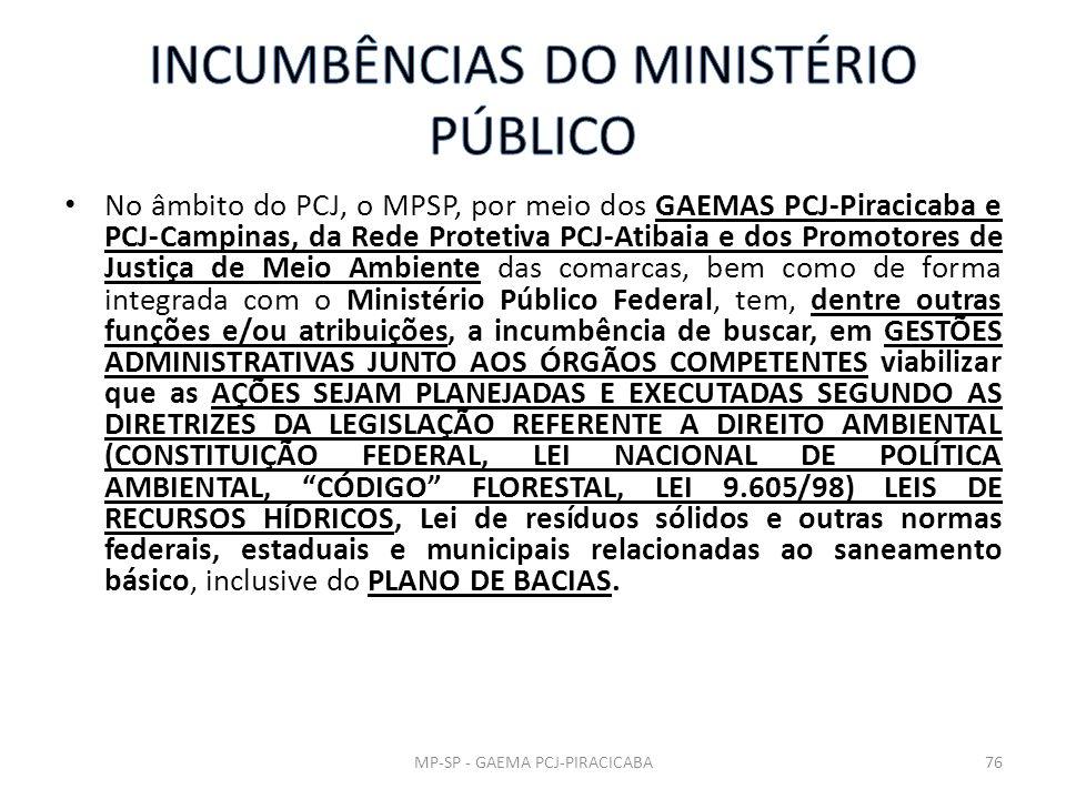 INCUMBÊNCIAS DO MINISTÉRIO PÚBLICO
