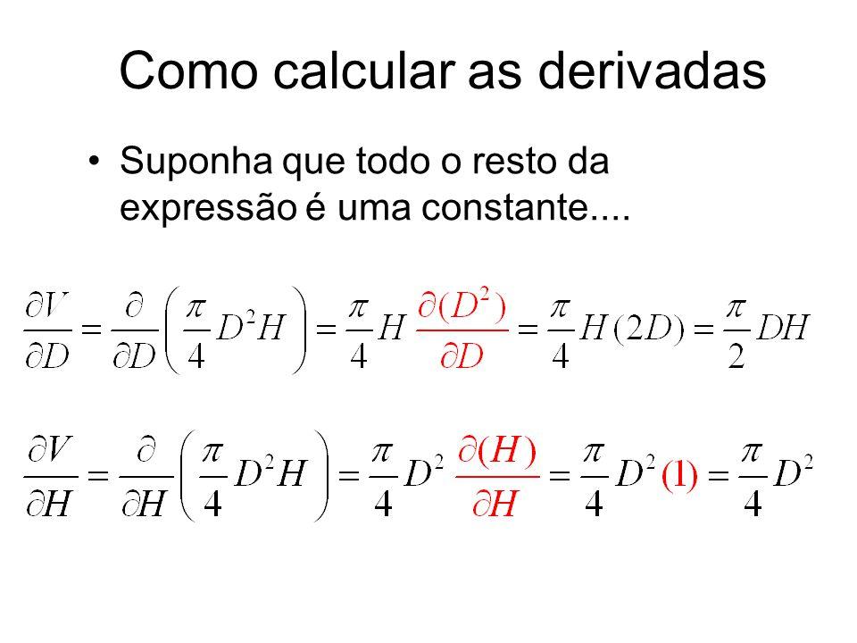Como calcular as derivadas