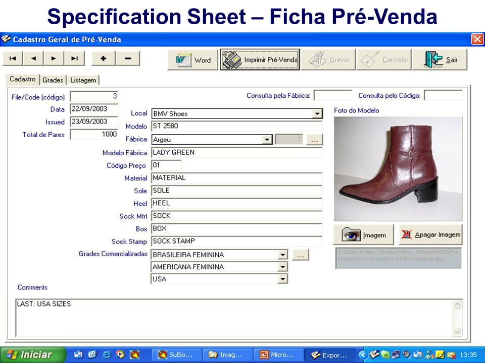Specification Sheet – Ficha Pré-Venda