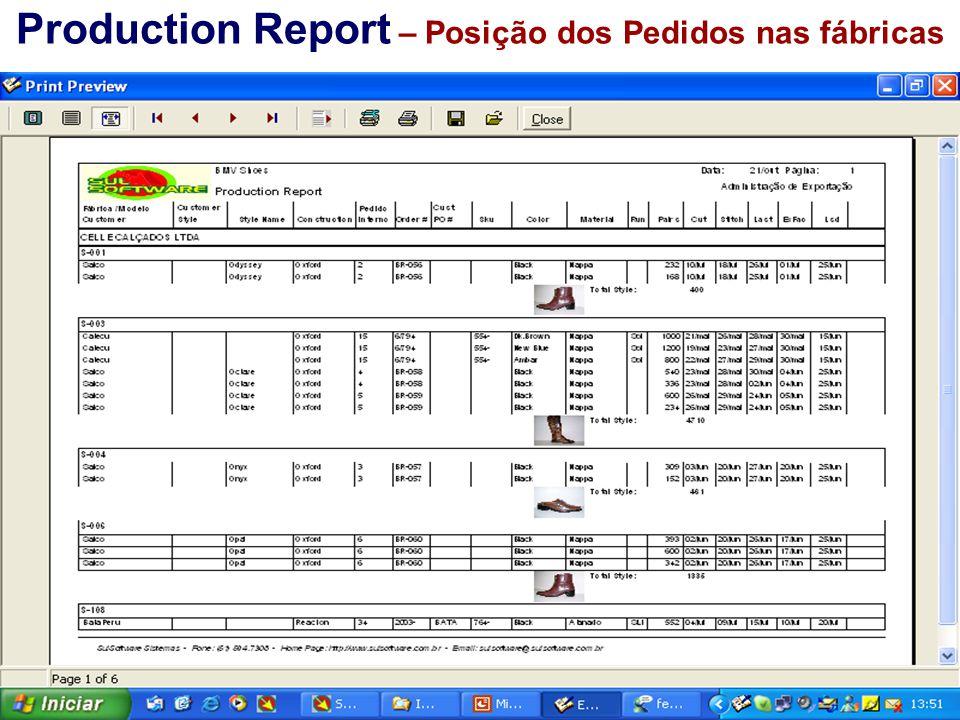Production Report – Posição dos Pedidos nas fábricas