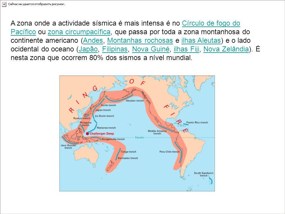 A zona onde a actividade sísmica é mais intensa é no Círculo de fogo do Pacífico ou zona circumpacífica, que passa por toda a zona montanhosa do continente americano (Andes, Montanhas rochosas e ilhas Aleutas) e o lado ocidental do oceano (Japão, Filipinas, Nova Guiné, ilhas Fiji, Nova Zelândia).
