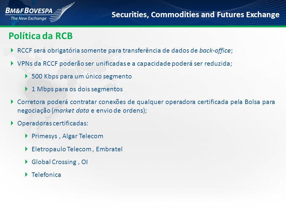 Política da RCB RCCF será obrigatória somente para transferência de dados de back-office;