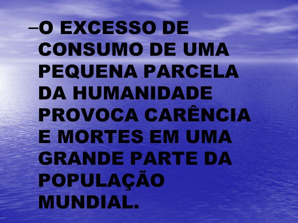 O EXCESSO DE CONSUMO DE UMA PEQUENA PARCELA DA HUMANIDADE PROVOCA CARÊNCIA E MORTES EM UMA GRANDE PARTE DA POPULAÇÃO MUNDIAL.