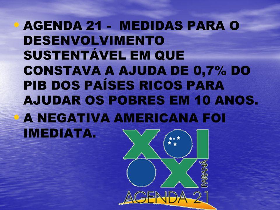 AGENDA 21 - MEDIDAS PARA O DESENVOLVIMENTO SUSTENTÁVEL EM QUE CONSTAVA A AJUDA DE 0,7% DO PIB DOS PAÍSES RICOS PARA AJUDAR OS POBRES EM 10 ANOS.