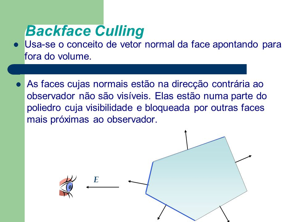 Backface Culling Usa-se o conceito de vetor normal da face apontando para fora do volume.