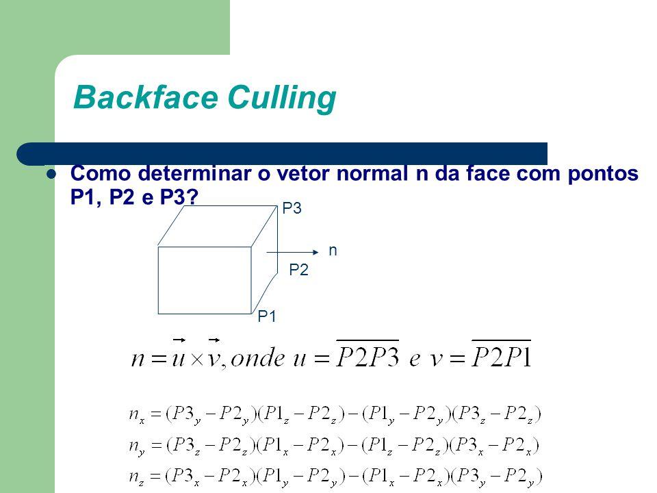 Backface Culling Como determinar o vetor normal n da face com pontos P1, P2 e P3 P3 n P2 P1