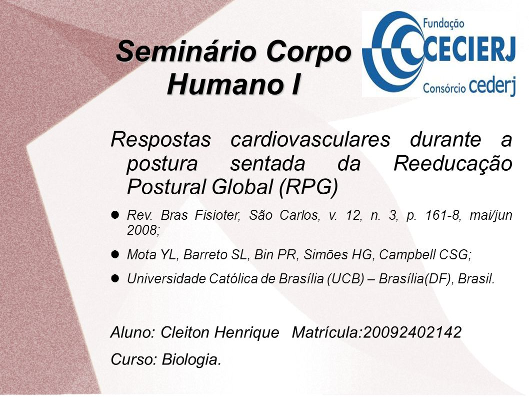 Seminário Corpo Humano I