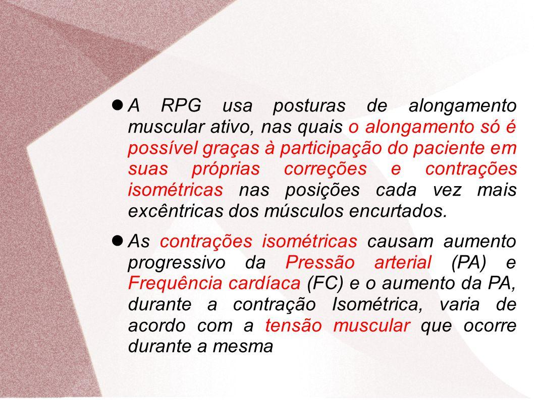A RPG usa posturas de alongamento muscular ativo, nas quais o alongamento só é possível graças à participação do paciente em suas próprias correções e contrações isométricas nas posições cada vez mais excêntricas dos músculos encurtados.