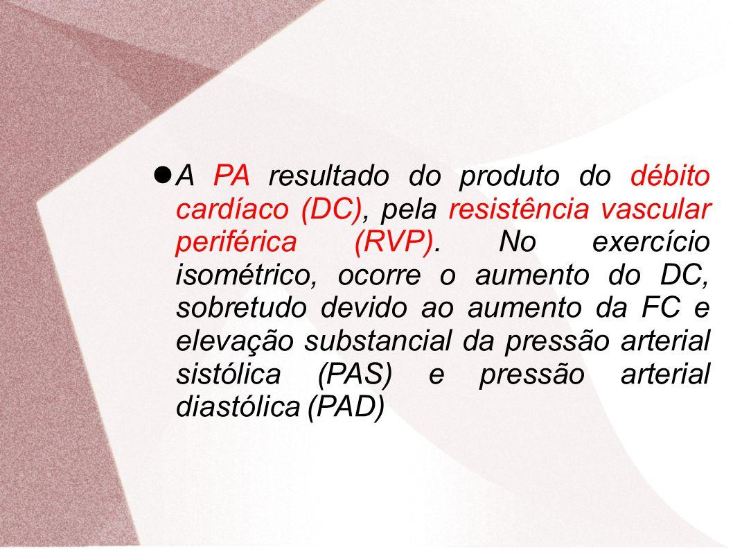 A PA resultado do produto do débito cardíaco (DC), pela resistência vascular periférica (RVP). No exercício isométrico, ocorre o aumento do DC, sobretudo devido ao aumento da FC e elevação substancial da pressão arterial sistólica (PAS) e pressão arterial diastólica (PAD)