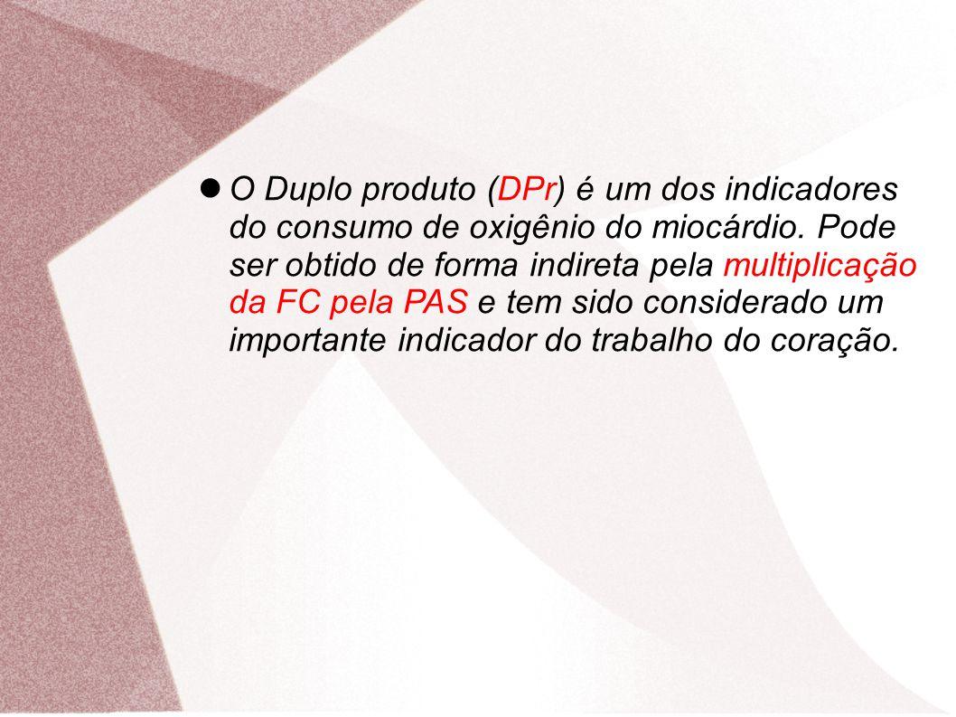 O Duplo produto (DPr) é um dos indicadores do consumo de oxigênio do miocárdio. Pode ser obtido de forma indireta pela multiplicação da FC pela PAS e tem sido considerado um importante indicador do trabalho do coração.