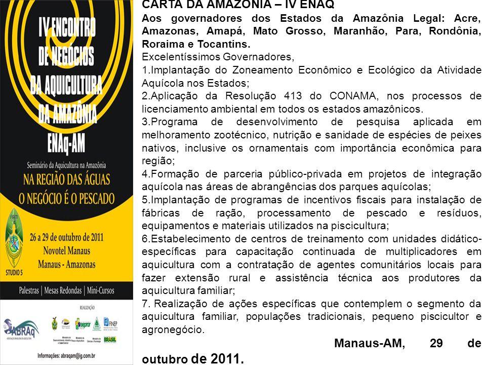 CARTA DA AMAZÔNIA – IV ENAQ
