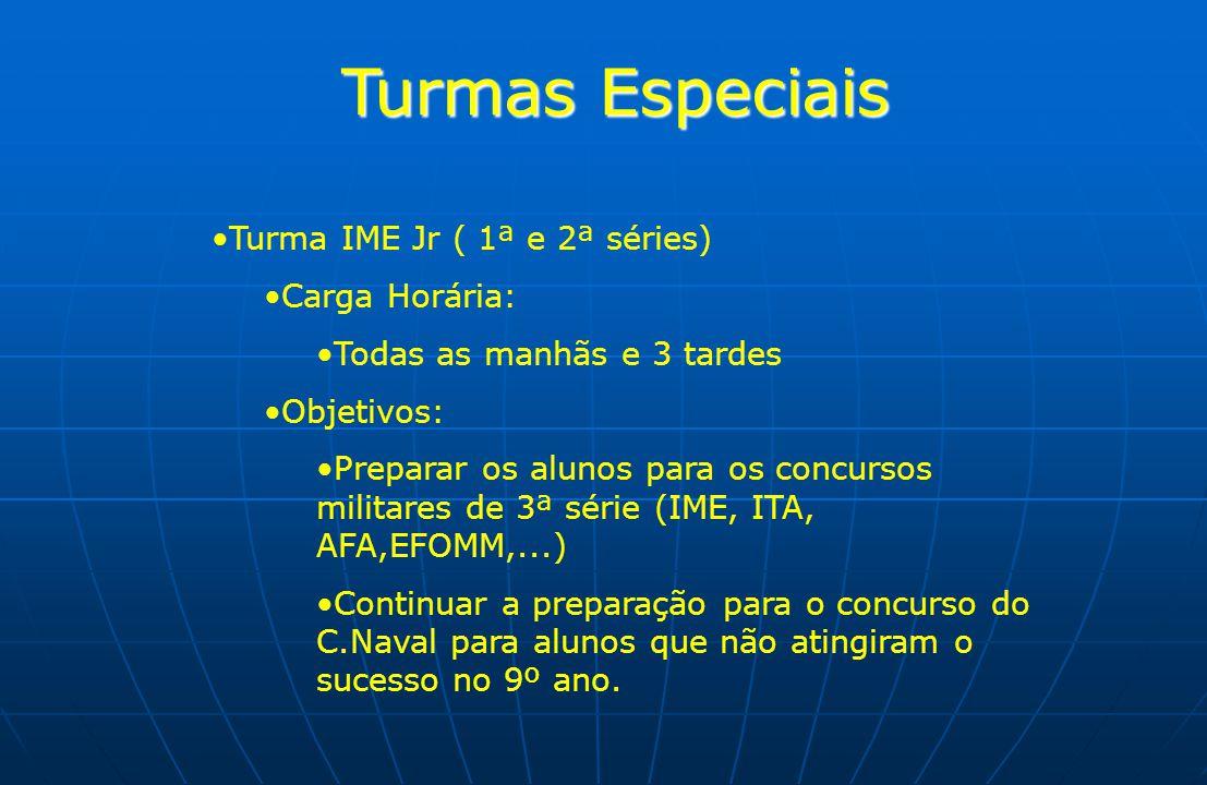 Turmas Especiais Turma IME Jr ( 1ª e 2ª séries) Carga Horária: