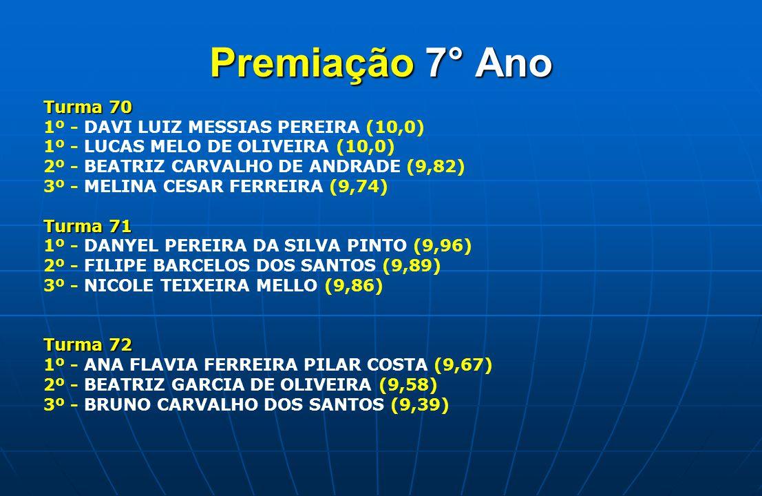 Premiação 7° Ano Turma 70 1º - DAVI LUIZ MESSIAS PEREIRA (10,0)