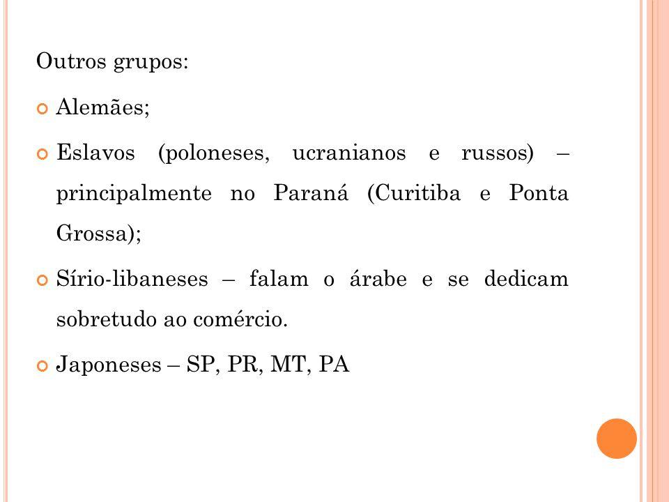 Outros grupos: Alemães; Eslavos (poloneses, ucranianos e russos) – principalmente no Paraná (Curitiba e Ponta Grossa);