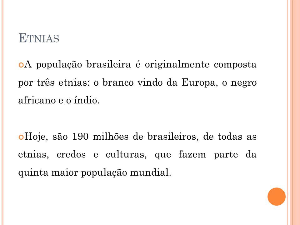 Etnias A população brasileira é originalmente composta por três etnias: o branco vindo da Europa, o negro africano e o índio.