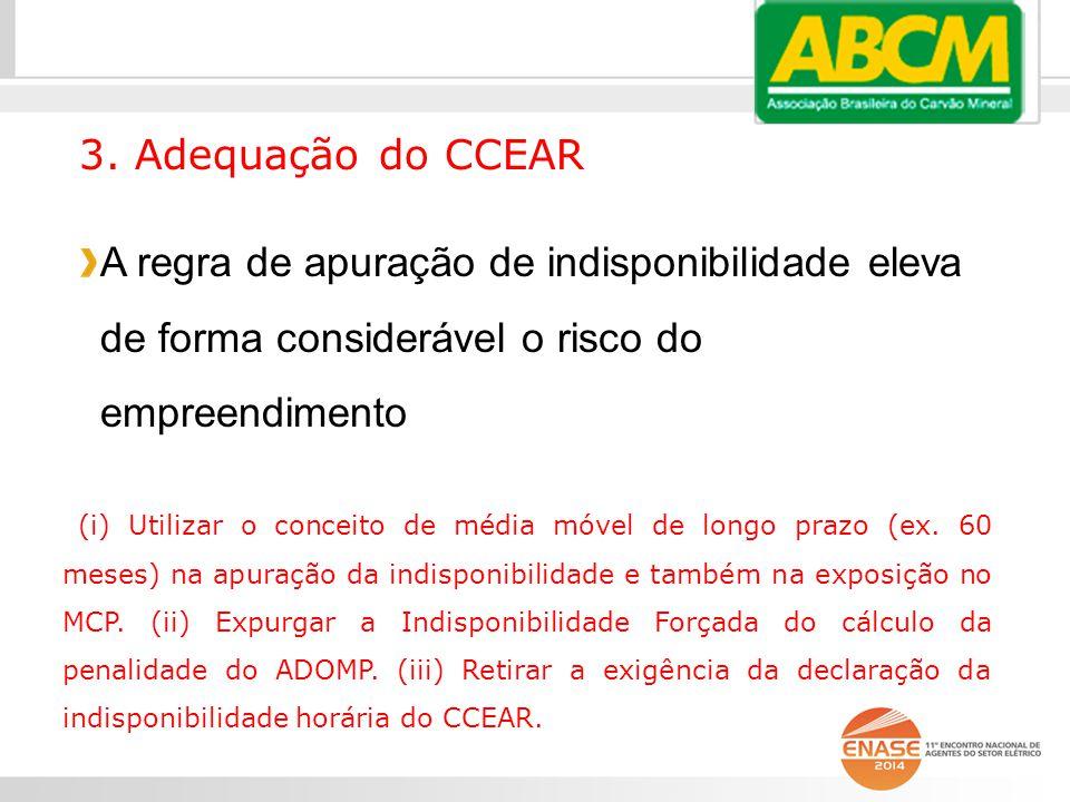 3. Adequação do CCEAR A regra de apuração de indisponibilidade eleva de forma considerável o risco do empreendimento.