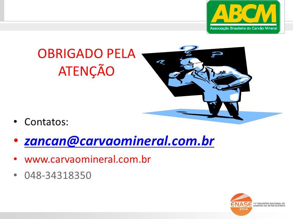 OBRIGADO PELA ATENÇÃO zancan@carvaomineral.com.br Contatos: