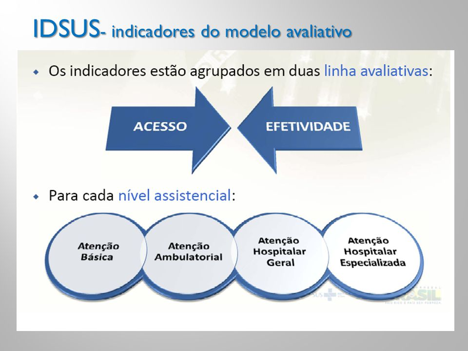 IDSUS- indicadores do modelo avaliativo