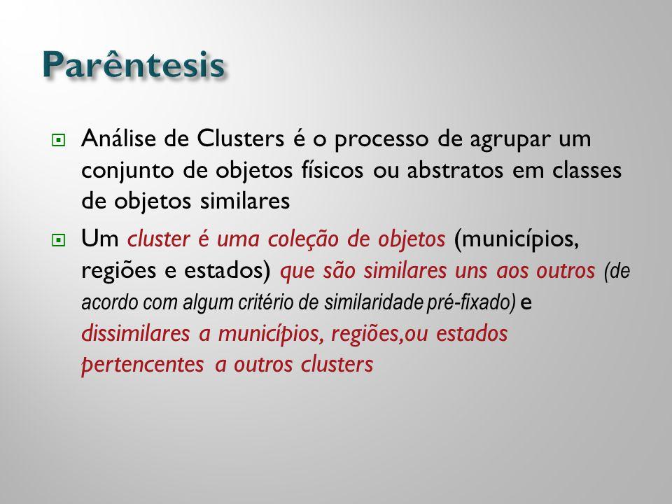 Parêntesis Análise de Clusters é o processo de agrupar um conjunto de objetos físicos ou abstratos em classes de objetos similares.