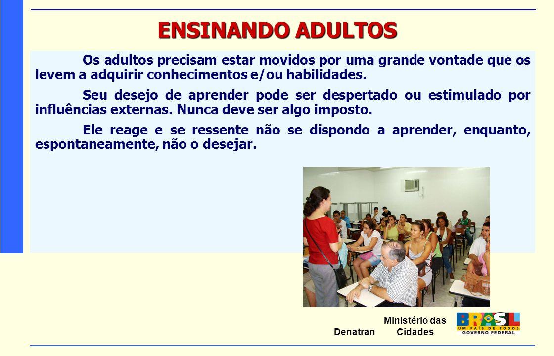ENSINANDO ADULTOS Os adultos precisam estar movidos por uma grande vontade que os levem a adquirir conhecimentos e/ou habilidades.