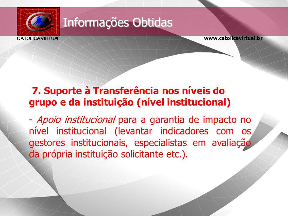 Informações Obtidas 7. Suporte à Transferência nos níveis do grupo e da instituição (nível institucional)