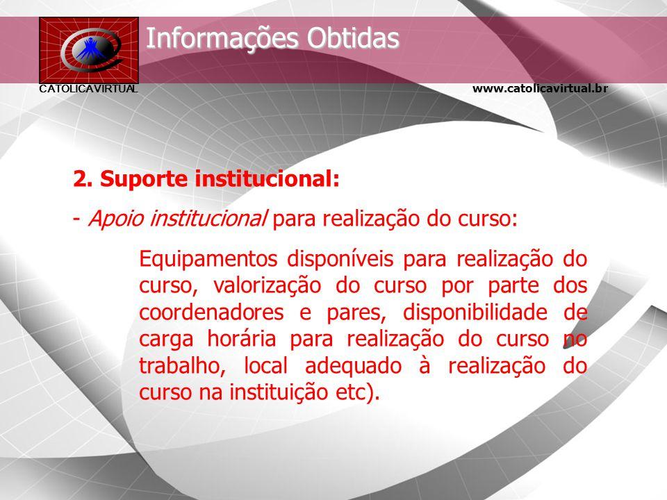 Informações Obtidas 2. Suporte institucional: