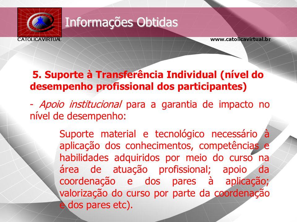 Informações Obtidas 5. Suporte à Transferência Individual (nível do desempenho profissional dos participantes)