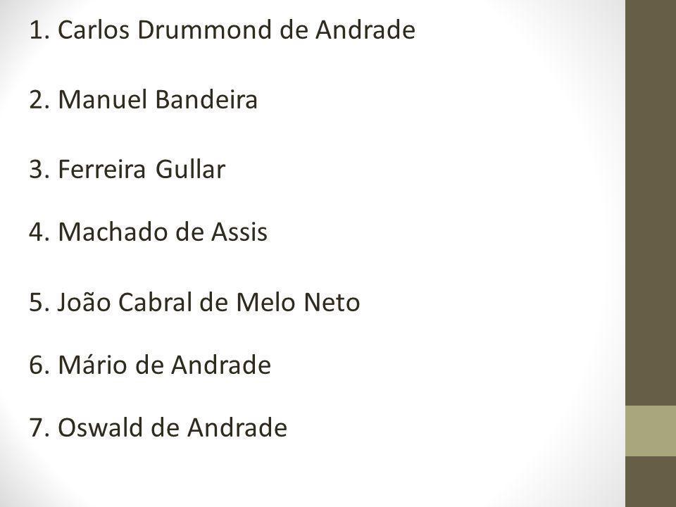 1. Carlos Drummond de Andrade 2. Manuel Bandeira 3. Ferreira Gullar 4