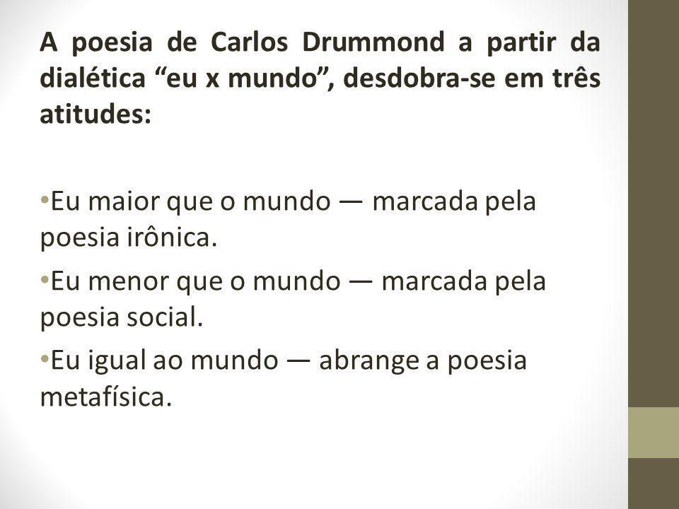 A poesia de Carlos Drummond a partir da dialética eu x mundo , desdobra-se em três atitudes:
