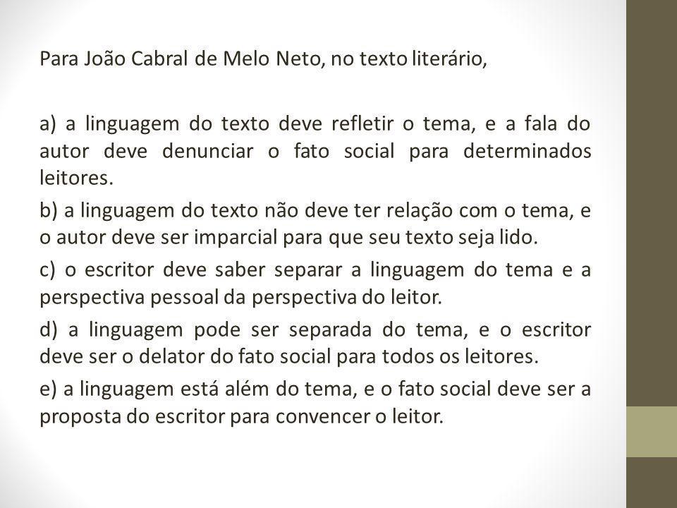 Para João Cabral de Melo Neto, no texto literário, a) a linguagem do texto deve refletir o tema, e a fala do autor deve denunciar o fato social para determinados leitores.