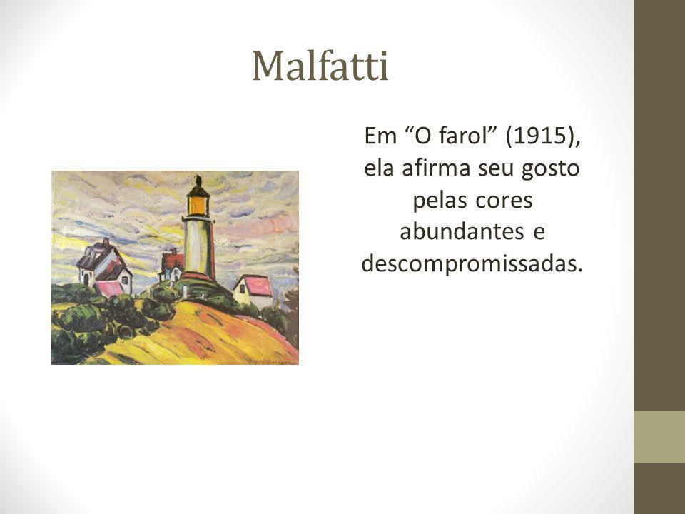 Malfatti Em O farol (1915), ela afirma seu gosto pelas cores abundantes e descompromissadas.