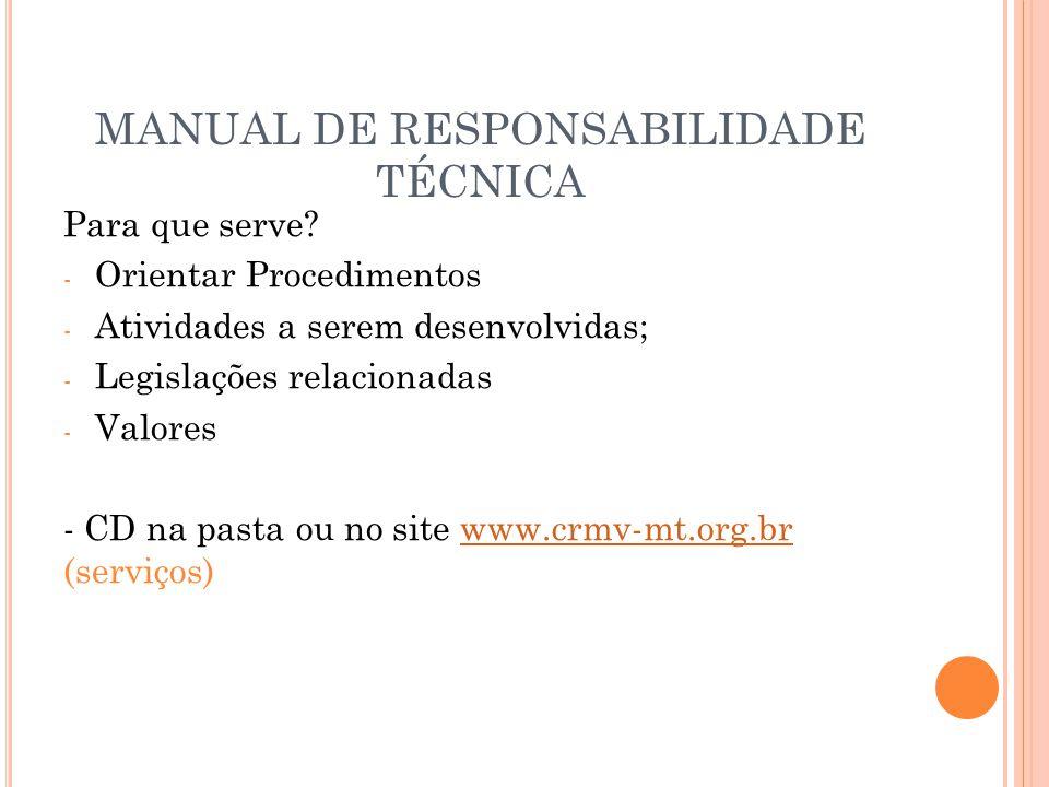 MANUAL DE RESPONSABILIDADE TÉCNICA