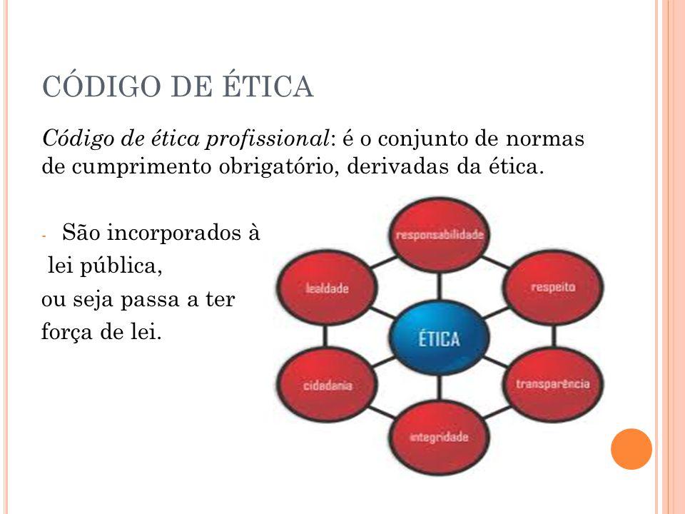 CÓDIGO DE ÉTICA Código de ética profissional: é o conjunto de normas de cumprimento obrigatório, derivadas da ética.