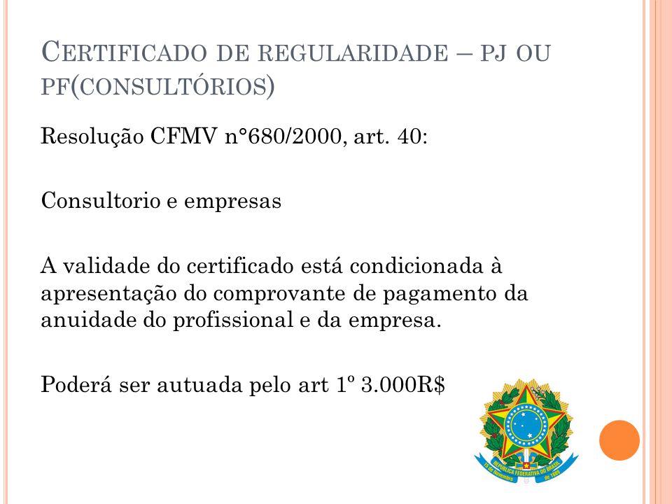 Certificado de regularidade – pj ou pf(consultórios)