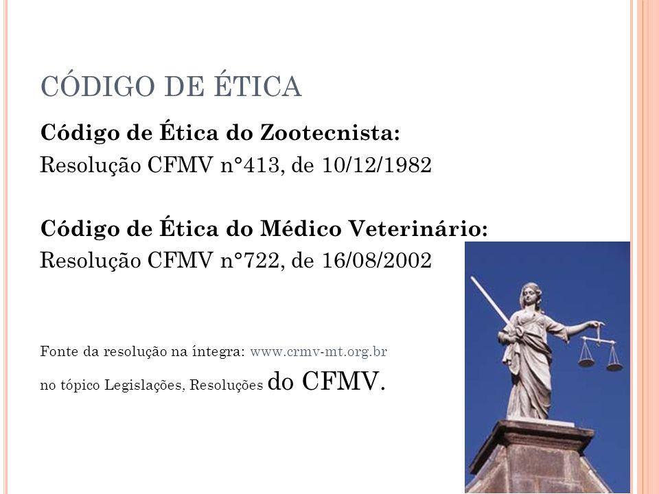CÓDIGO DE ÉTICA Código de Ética do Zootecnista: