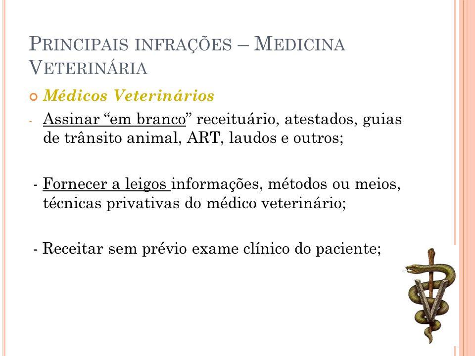 Principais infrações – Medicina Veterinária