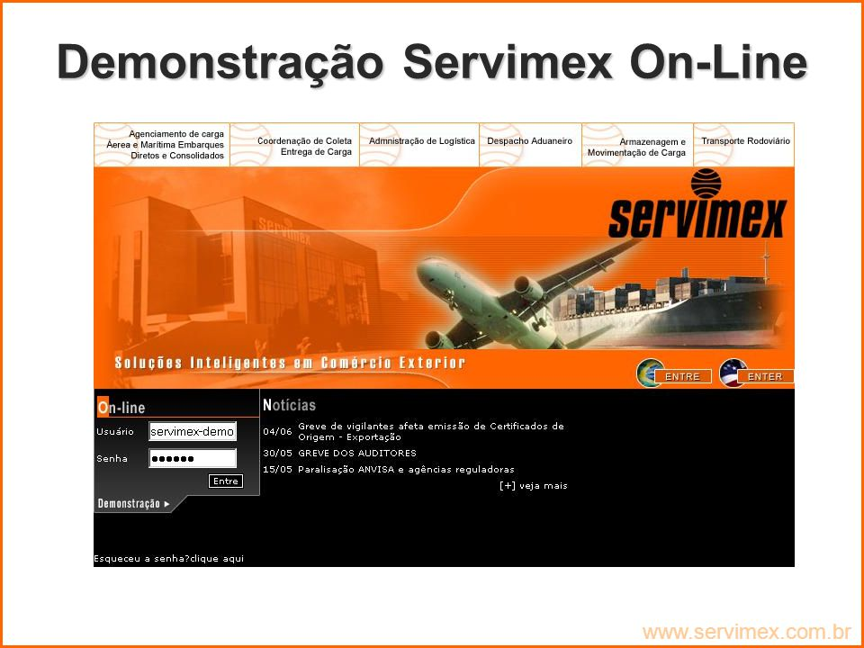 Demonstração Servimex On-Line