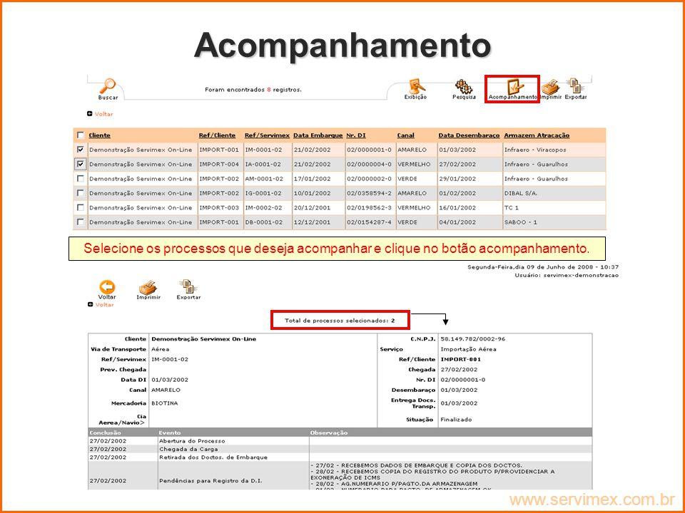 Acompanhamento www.servimex.com.br