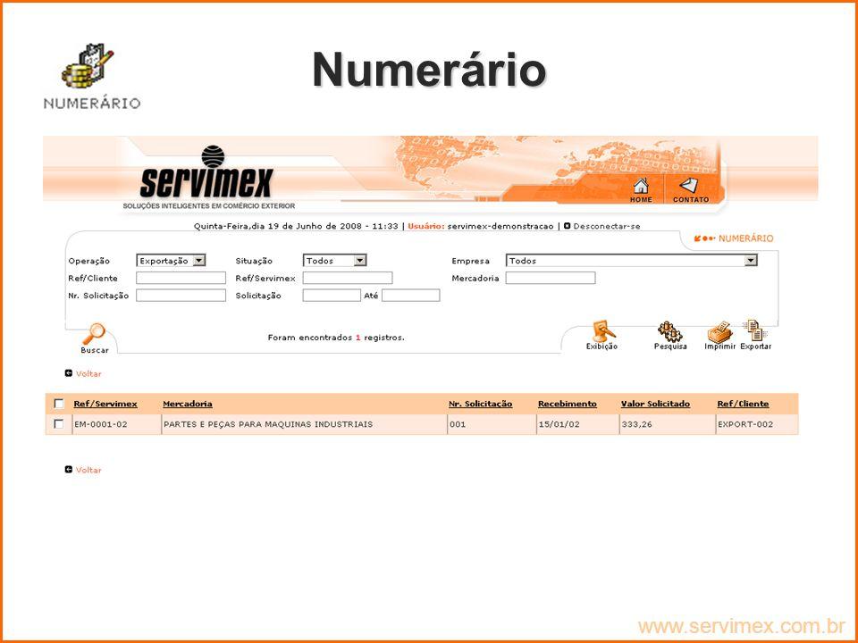Numerário www.servimex.com.br