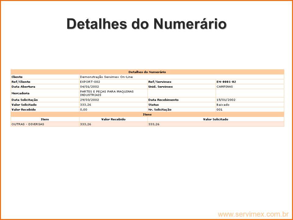 Detalhes do Numerário www.servimex.com.br